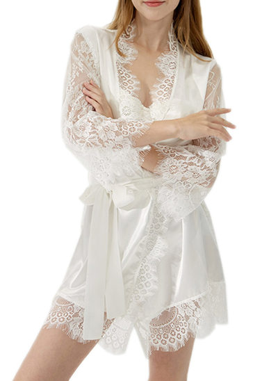 Bride Satin Lace With Short Satin & Lace Robes