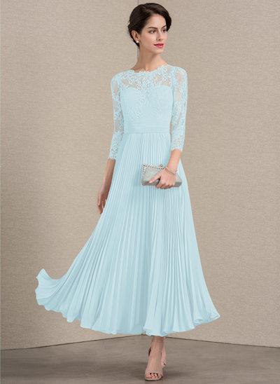 Vestidos princesa/ Formato A Decote redondo Longuete Tecido de seda Renda Vestido para a mãe da noiva com Plissada
