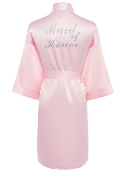 Personalized Charmeuse Bride Bridesmaid Mom Glitter Print Robes
