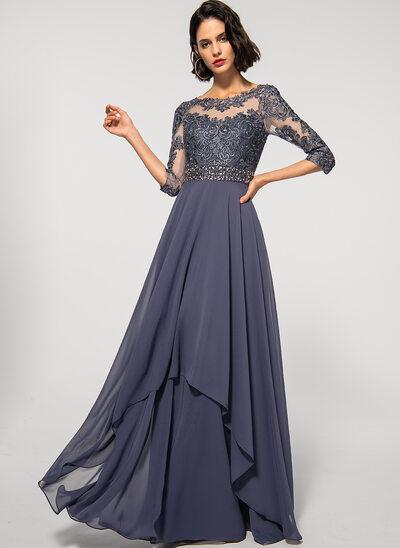 Corte A Decote redondo Longos Tecido de seda Renda Vestido de festa com Beading lantejoulas