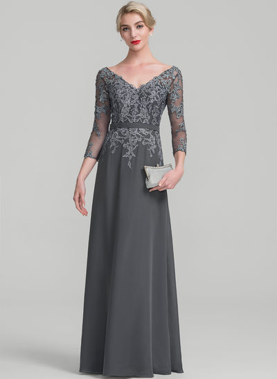A-Line/Princess V-neck Floor-Length Chiffon Lace Mother of the Bride Dress With Beading Sequins