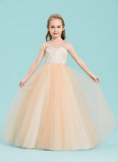 Balowa Do Podłogi Sukienka dla Dziewczynki Sypiącej Kwiaty - Tiul/Koronka Bez Rękawów Okrągły/ głęboko wycięty