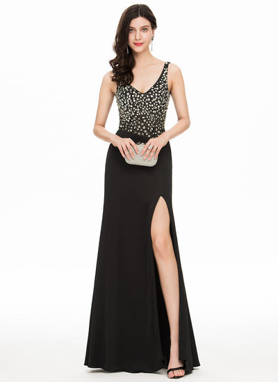 Sheath/Column V-neck Floor-Length Jersey Prom Dresses With Beading Split Front
