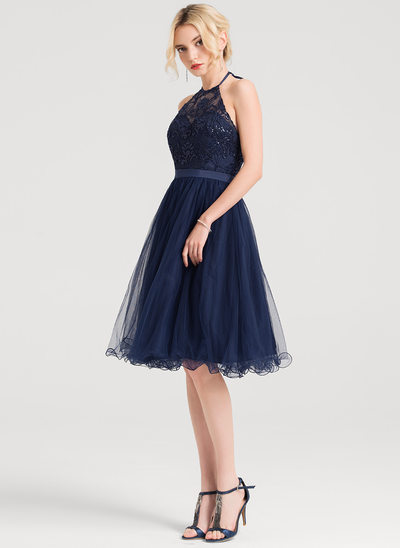A-Line/Princess Halter Knee-Length Tulle Cocktail Dress With Sequins