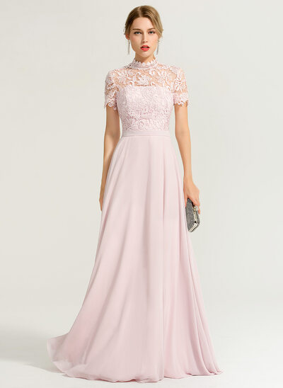 A-Linie/Princess-Linie High Neck Bodenlang Chiffon Abiballkleid