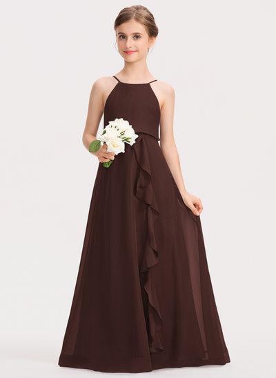 Corte A Decote redondo Longos Tecido de seda Vestido de daminha júnior com Curvado Babados em cascata