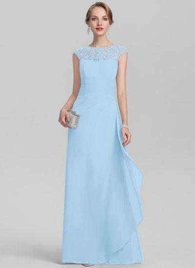 A-Linie/Princess-Linie U-Ausschnitt Bodenlang Chiffon Kleid für die Brautmutter mit Perlstickerei Pailletten Gestufte Rüschen
