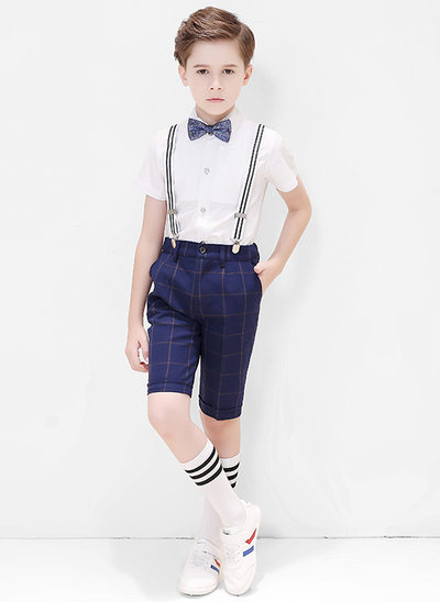 gutter 4 stykker Plaid Suits til ringbærere /Side Boy Suits med Skjorte sløyfe Suspender Shorts