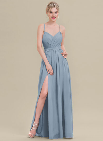 A-Line Sweetheart Floor-Length Chiffon Bridesmaid Dress With Ruffle Split Front