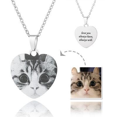 Personalisiert Silber Herz Gravur / Gravur Schwarz Und Weiß Foto-Halskette - Muttertagsgeschenke