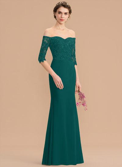 Trumpet/Mermaid Off-the-Shoulder Floor-Length Chiffon Lace Bridesmaid Dress