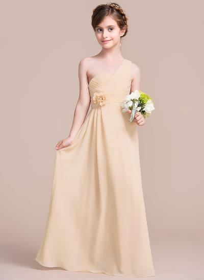 A-Line/Princess One-Shoulder Floor-Length Chiffon Junior Bridesmaid Dress With Ruffle Flower(s)