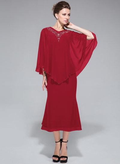 Trompete/Meerjungfrau-Linie V-Ausschnitt Wadenlang Chiffon Kleid für die Brautmutter mit Perlstickerei Pailletten