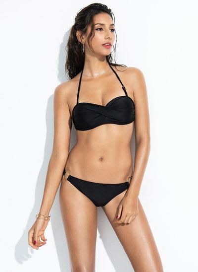 Sexy Couleur unie Polyester Bikinis Maillot de bain
