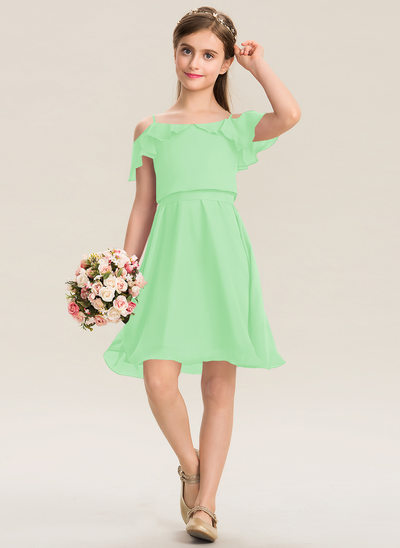 A-Line Square Neckline Knee-Length Chiffon Junior Bridesmaid Dress With Bow(s) Cascading Ruffles