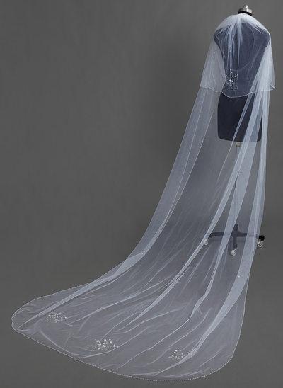 Zweischichtig Kapelle Braut Schleier mit Perlenbesetzter Saum
