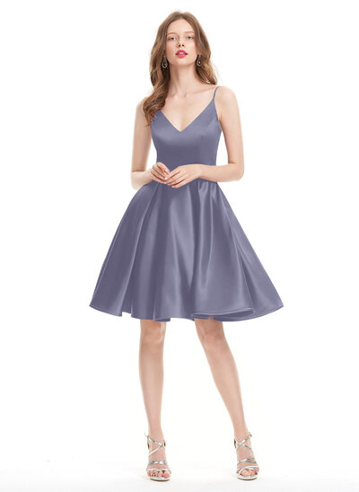 Corte A Decote V Coquetel Cetim Vestido de baile