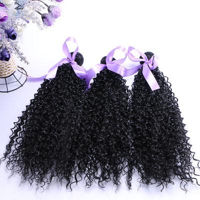 Curly Syntetisk hår Vævning af ægte hår (Solgt i et enkelt stykke) 70g