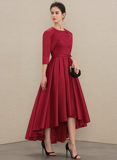 A-Line Scoop Neck Asymmetrical Satin Lace Evening Dress With Sequins