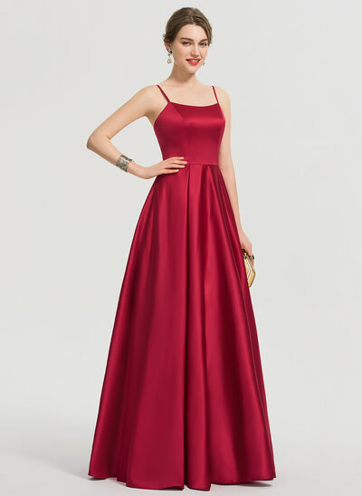 A-Line Square Neckline Floor-Length Satin Evening Dress
