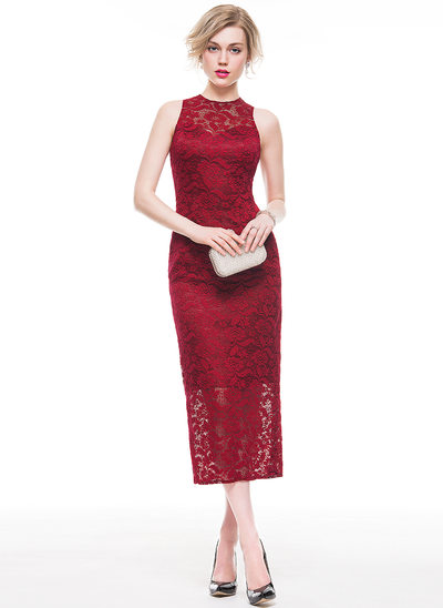 Sheath/Column Scoop Neck Tea-Length Lace Cocktail Dress