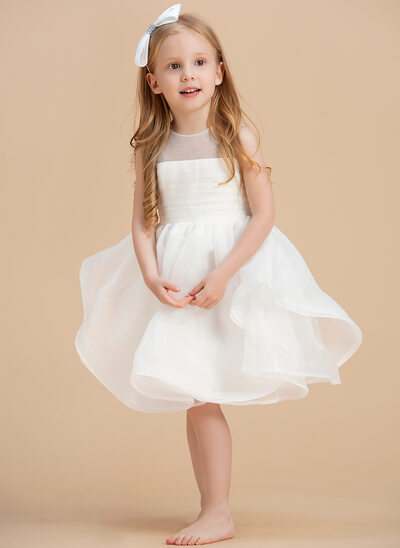 Ball-Gown/Princess Knee-length Flower Girl Dress - Organza Sleeveless Scoop Neck With V Back