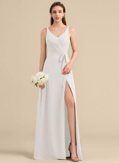 A-Line/Princess V-neck Floor-Length Chiffon Bridesmaid Dress With Ruffle Bow(s) Split Front