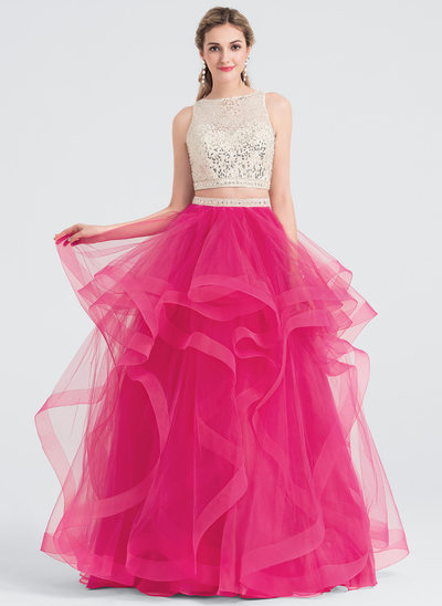 Ball-Gown Scoop Neck Floor-Length Tulle Prom Dresses With Beading