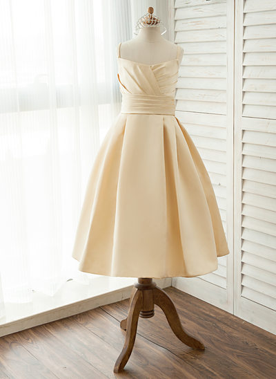 A-Line/Princess Tea-length Flower Girl Dress - Satin Sleeveless Square Neckline