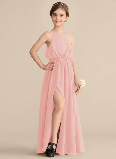 A-Line Square Neckline Floor-Length Chiffon Junior Bridesmaid Dress With Split Front