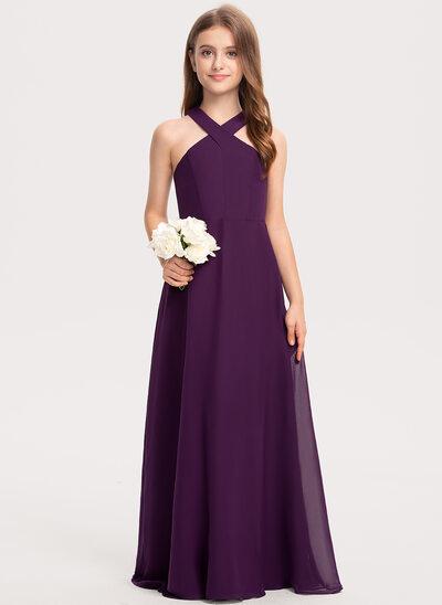 Трапеция V-образный Длина до пола шифон Платье Юнных Подружек Невесты