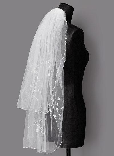Zweischichtig Perlenbesetzter Saum Ellenbogen Braut Schleier mit Faux-Perlen