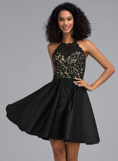 A-Line Scoop Neck Short/Mini Satin Homecoming Dress With Sequins Pockets