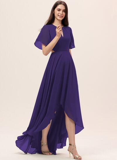 Трапеция Круглый асимметричный шифон Платье Подружки Невесты