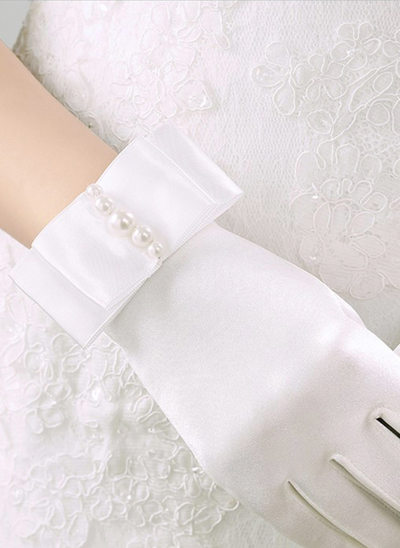 Satin/Imitation Pearls Wrist Length Bridal Gloves