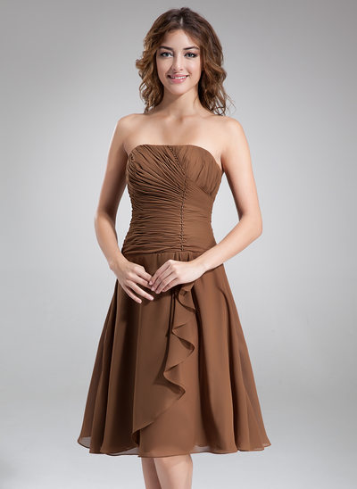 A-Line/Princess Strapless Knee-Length Chiffon Bridesmaid Dress With Beading Cascading Ruffles