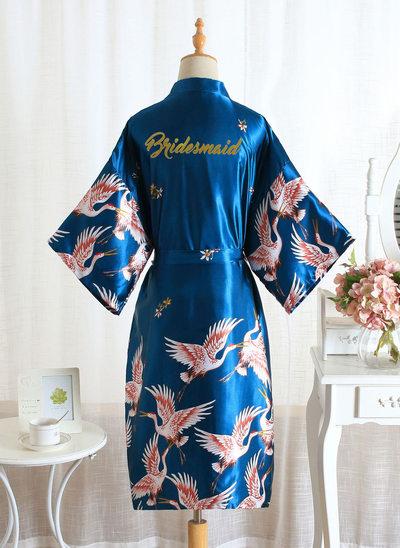 Bez Vlastní úpravy Polyester Družička Květinové šaty Glitter Print Robes