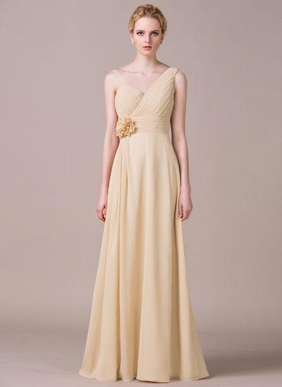 Forme Princesse Encolure asymétrique Longueur ras du sol Mousseline Robe de demoiselle d'honneur avec Plissé Fleur(s)