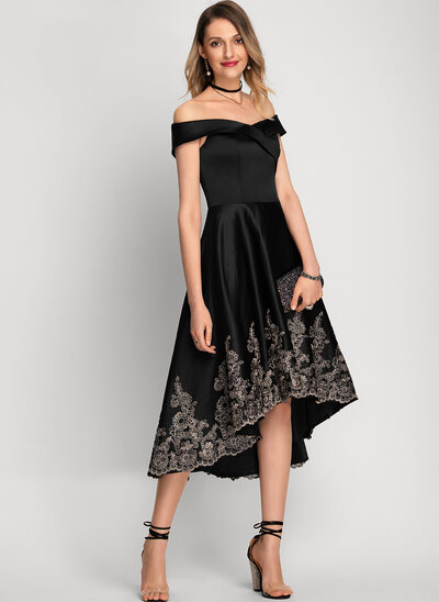 A-Line Off-the-Shoulder Asymmetrical Satin Cocktail Dress With Lace