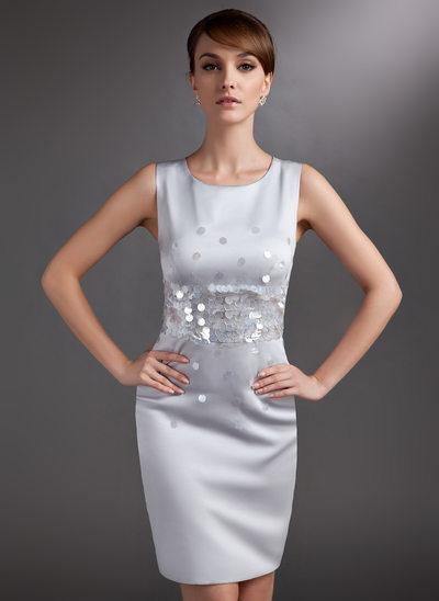 Etui-Linie U-Ausschnitt Knielang Satin Kleid für die Brautmutter mit Pailletten