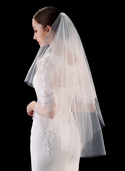Zweischichtig Schnittkante Ellenbogen Braut Schleier