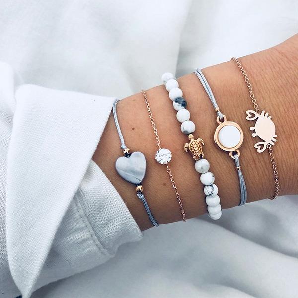 Exotic Alloy Resin Women's Fashion Bracelets (Set of 5)