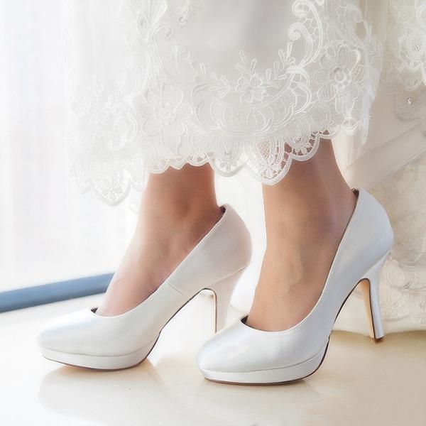 Mulheres Cetim Salto agulha Fechados Bombas Sapatos Tingíveis