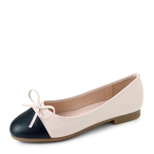 Vrouwen PU Flat Heel Flats Closed Toe met strik Gesplitste Stof schoenen