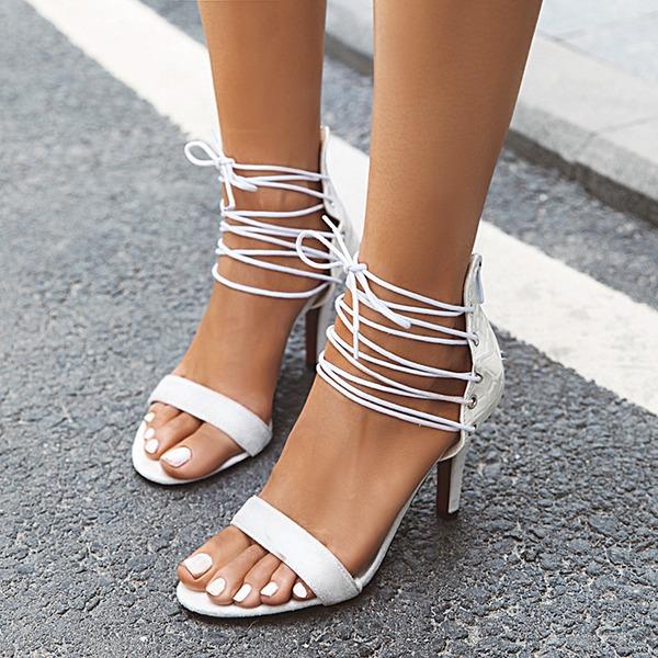 Naisten Keinonahasta Piikkikorko Sandaalit Avokkaat Peep toe jossa Nauhakenkä kengät