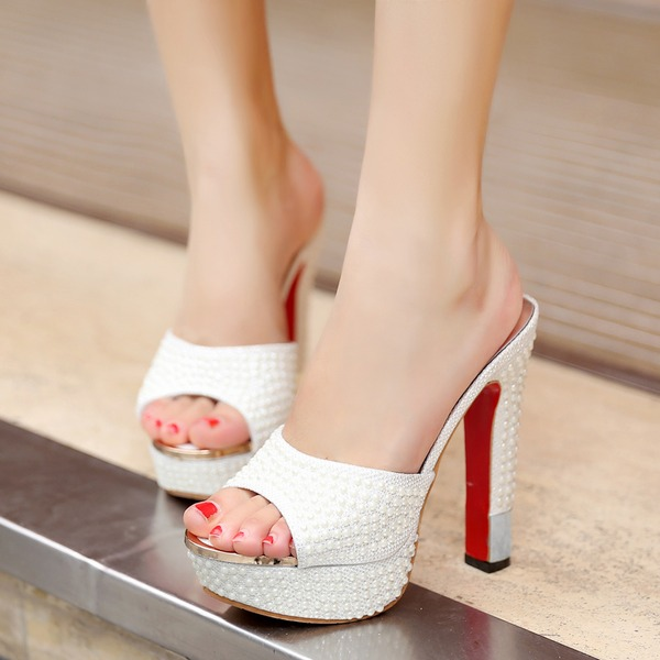 Vrouwen Kunstleer Chunky Heel Sandalen met Imitatie Parel Sprankelende Glitter schoenen