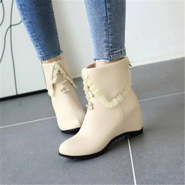 Vrouwen PU Wedge Heel Enkel Laarzen met Ruched schoenen