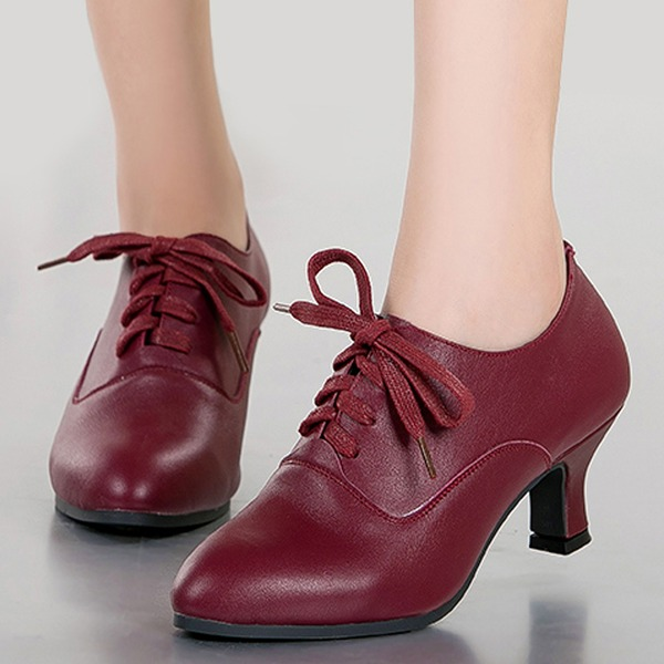 Women's Real Leather Pumps Sneakers With Lace-up Dance Shoes