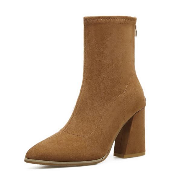 Kadın Süet Kalın Topuk Kapalı Toe Bot Mid-Buzağı Boots Ile Fermuar ayakkabı