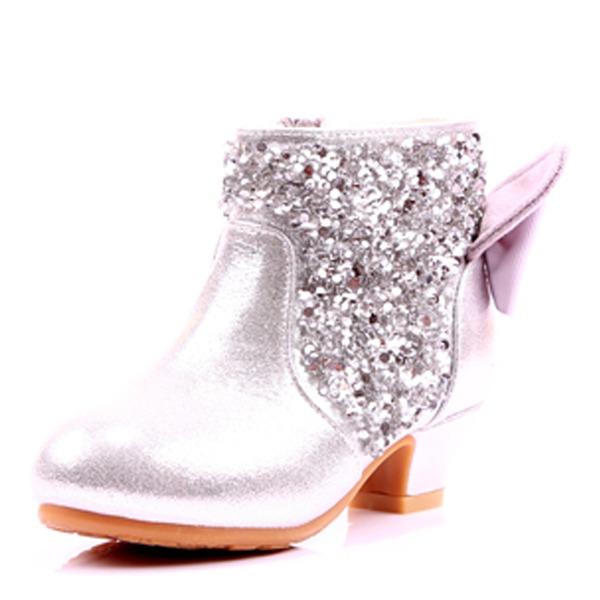 Mädchens Round Toe Geschlossene Zehe Stiefelette Leder niedrige Ferse Stiefel Blumenmädchen Schuhe mit Bowknot